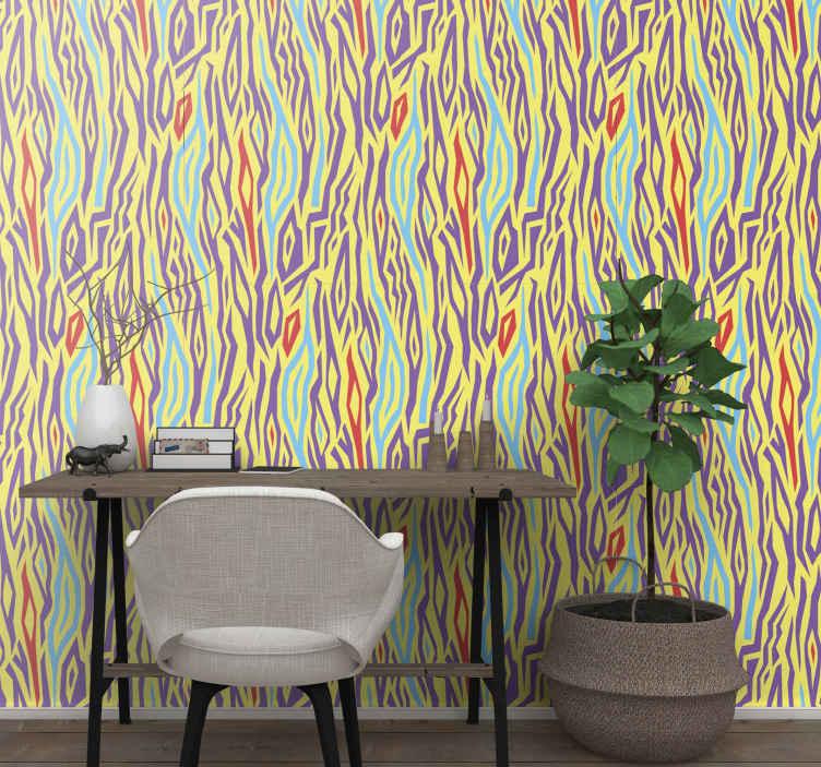 TenStickers. papel de parede animais Estampa animal vintage de zebra. Papel de parede vintage zebra animal print para casa, escritório, escola e decoração de espaço comercial. Fácil de aplicar e fabricado com material de primeira qualidade.