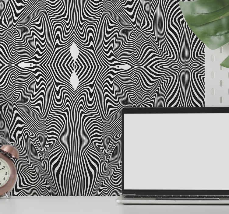TenStickers. 3D Effect Zebra print wallpaper. 3D patterned wallpaper hosting black and white zebra pattern effect. Lovely 3D effect zebra wallpaper to transform any wall in a house.