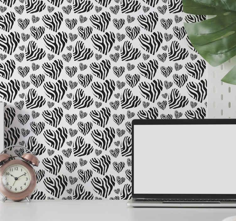 TenStickers. Carta da parati con animali Cuore di stampa animalier zebra. Bellissimo design della carta da parati con stampa a cuore con stampa animalier zebra per decorare la tua casa per avere un aspetto incantevole. è facile da applicare e rimovibile.