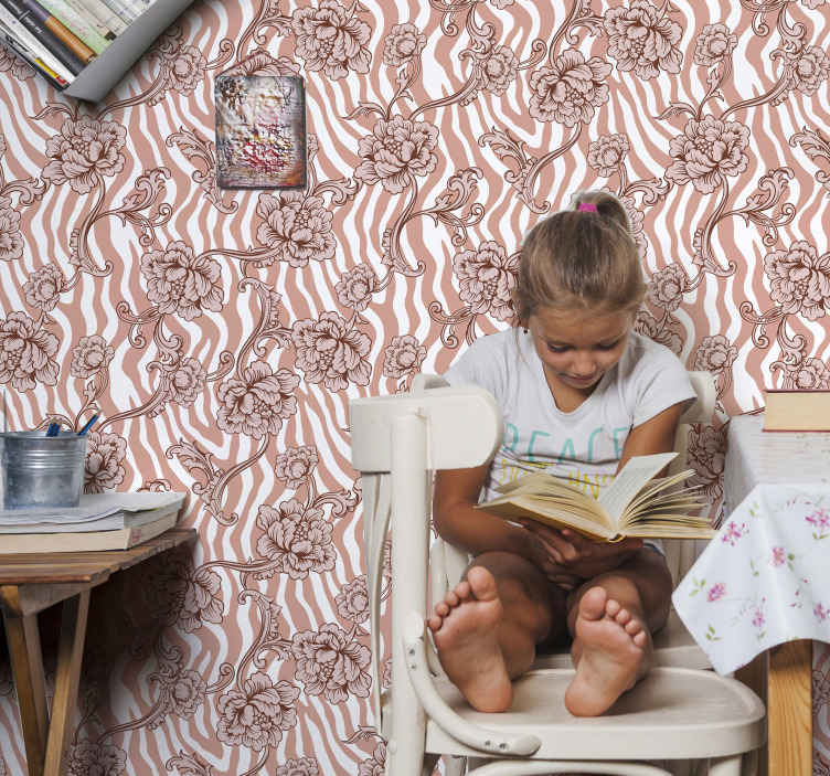 TenStickers. Zebra print and ornamental flowers coral wallpaper. Vintage colour ornamental patterned wallpaper consisting of florals and zebra prints design.. It is original, durable and easy to apply.