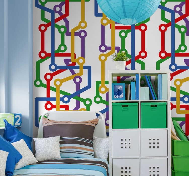 TenStickers. Papier peint graphique Premier métro. Le design de ce papier peint bureau inspiré des cartes de métro apportera des couleurs chaudes à votre intérieur et une ambiance contemporaine.