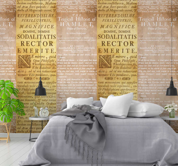 TenStickers. Concrete Epigraph Letter Wallpaper. Make your room super original and irreverent with this spectacular yellow concrete vinyl wallpaper with excerpts from books.