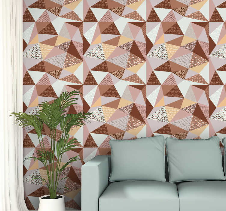 TenStickers. Triangles - composition Geometric Triangle Wallpaper. Give a fresh air to your house by decorating it in a very original way with this amazing geometric triangle wallpaper filled with different colors.