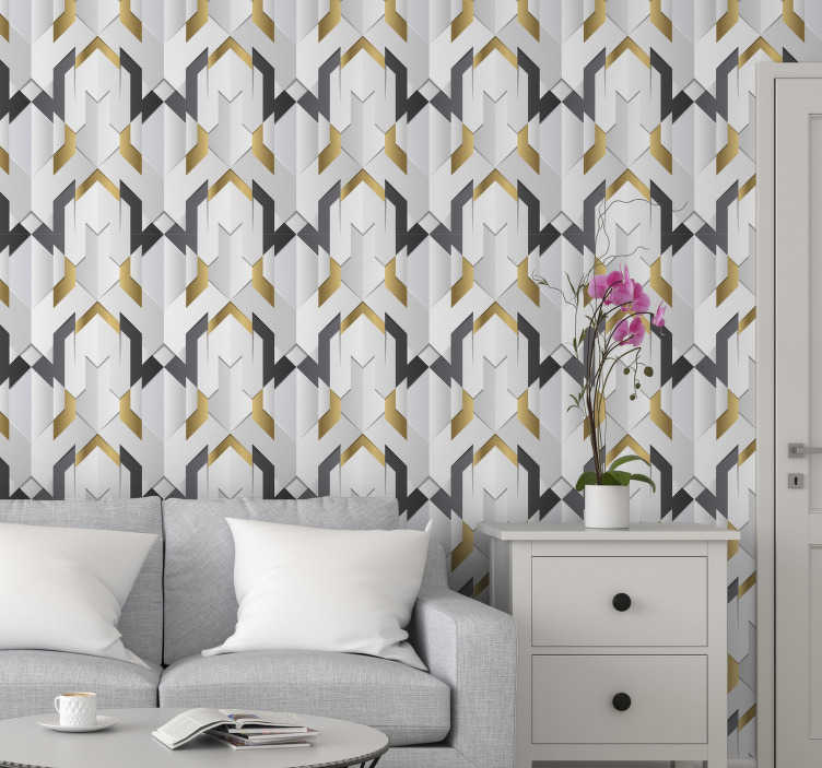 TenStickers. Pattern wallpaper gray triangles. This geometric triangle wallpaper stands out as a perfect addition to your house and will make your interior look nice and cosy. Order it now!
