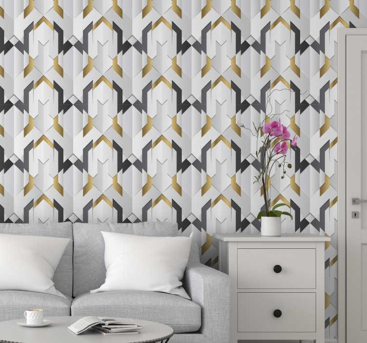 TenStickers. 图案壁纸灰色三角形. 这款几何三角壁纸是您房屋的完美补充,将使您的室内看起来舒适。立即订购!
