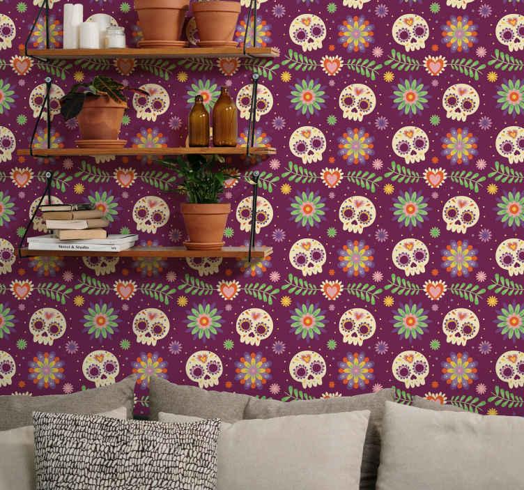 TenStickers. Arte carta da parati Teschi aztechi camera da letto. Carta da parati con teschi aztechi per camera da letto - perfetta anche per altri spazi! Il design consiste in vari teschi con motivi floreali.