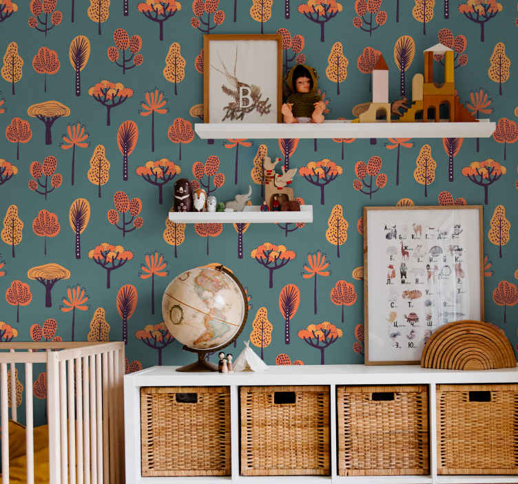 TenStickers. Yellow trees palm tree wallpaper. What a fantastic luxury wallpaper for bedroom space. Also can be decorated on any other room, it design displays various types of colorful trees.