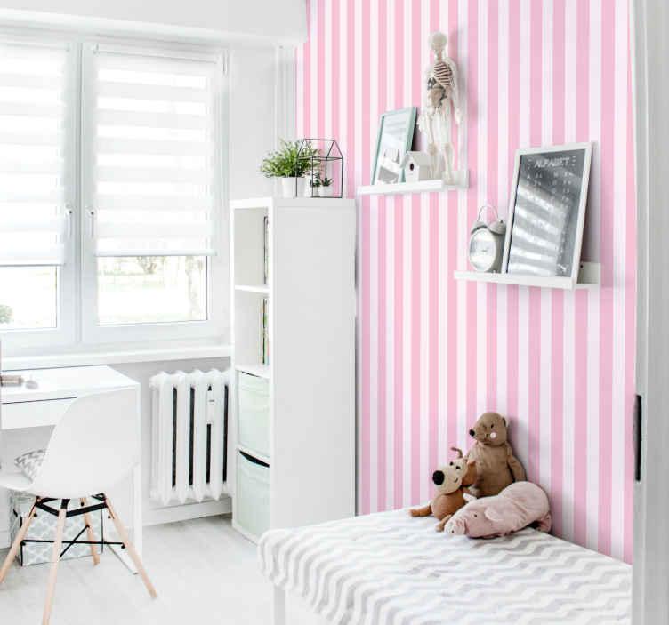 TenStickers. papel parede vertical riscas verticais brancas e rosa. Este papel de parede com padrão de riscas coloridas é perfeito para qualquer espaço da casa. Também pode ser usado em espaços comuns, como escritório, sala, espaço para hóspedes, etc.