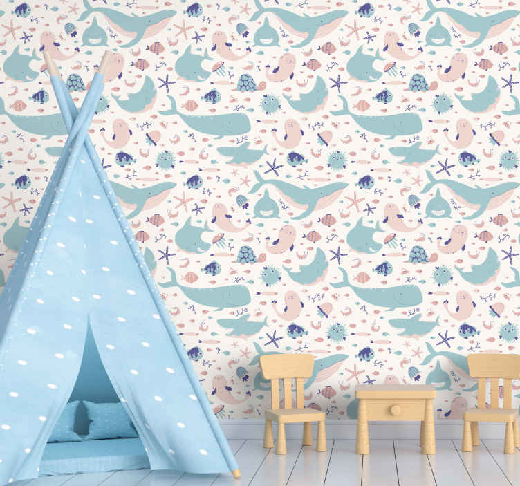 TenStickers. Dark and light blue sharks cool animal wallpaper. Fish theme wallpaper design with various illustrations of sharks, star fish, jelly fish, jelly fish, coral, etc. Made of high quality material.