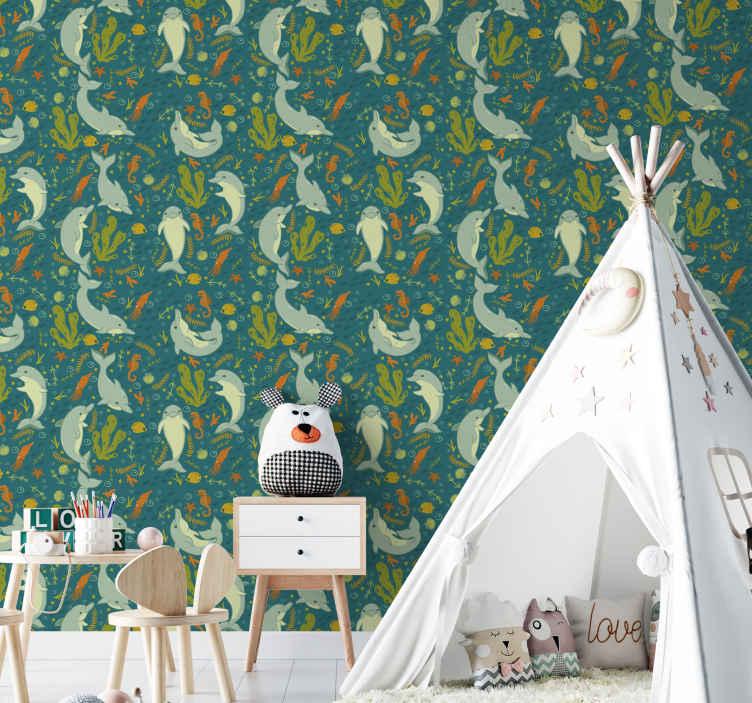 TenStickers. 蓝色海豚酷动物儿童壁纸. 梦幻般的儿童卧室壁纸,其设计说明了海底下的各种海洋动物,例如海豚和章鱼。