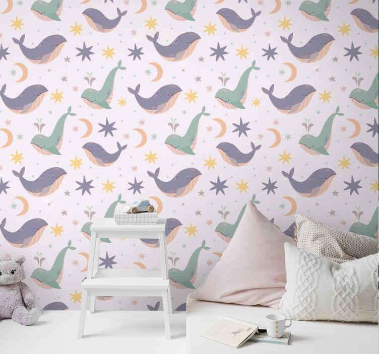 TenVinilo. Papel pared infantil ballenas azules. Hermoso papel pared infantil para el dormitorio de los niños. Este diseño quedará fantástico en el cuarto de tus hijos ¡Elige las unidades!