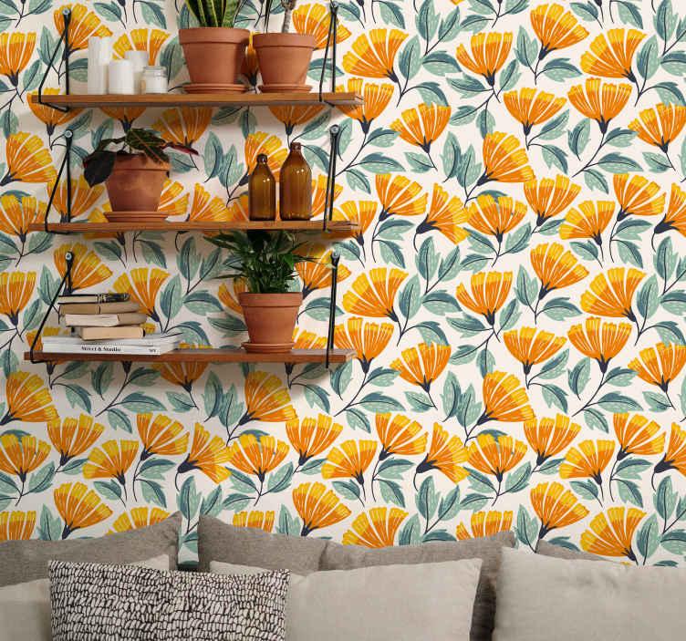 TenStickers. papel de parede flores Flores laranja do quarto. Papel de parede padrão de flor de laranja para a decoração de casa e outro espaço. Você adoraria o encaixe que este papel de parede luxuoso adiciona ao espaço da sua casa.