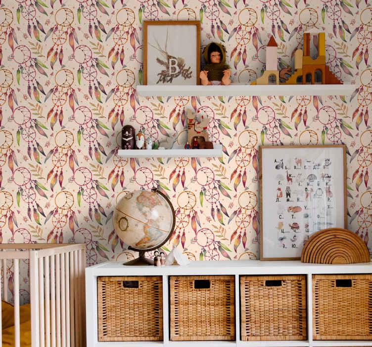 TenStickers. Soveværelse hippie stil børn tapet. Dejligt soveværelse tapet med mønstret blomsterdesign. Dette produkt vil tilføje et vintage touch på dit rum med det design tone og struktur.