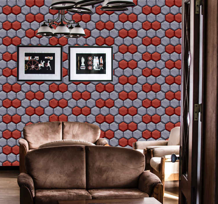 TenStickers. Love Brick effect wallpaper. A dining room feature wallpaper with a design made with red and grey colors in mosaic style. Very easy to apply with our instructions.