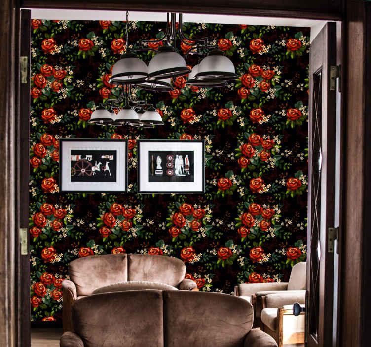 TenStickers. Carta da parati vintage Giardino affascinante. Carta da parati in vinile con un grande design da giardino pieno di fiori che riempirà la tua casa di gioia e glamour con un design pieno di natura.