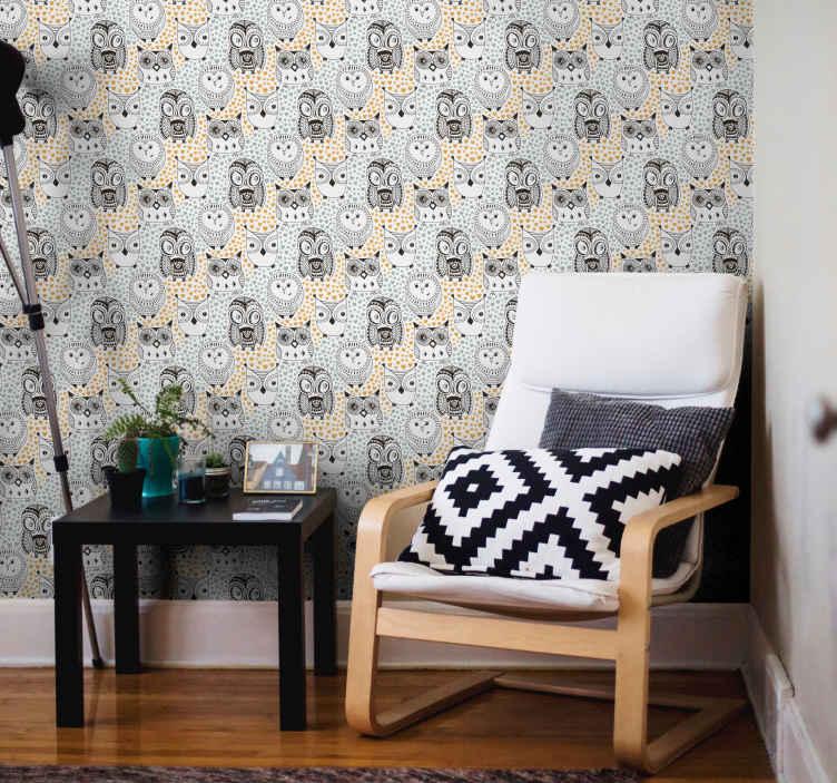 TenStickers. papel de parede animais Corujas de celeiro. Papel de parede de animais com ilustração de várias corujas com fundo branco e cinza que vai dar um toque original, exclusivo e único ao seu lar.