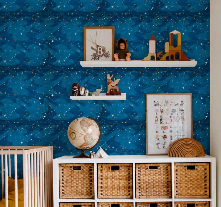 TENSTICKERS. 星月夜星空の壁紙. あなたがそれをインストールする部屋を照らす白い星でいっぱいの青い夜空のイラストが付いている子供の壁紙。