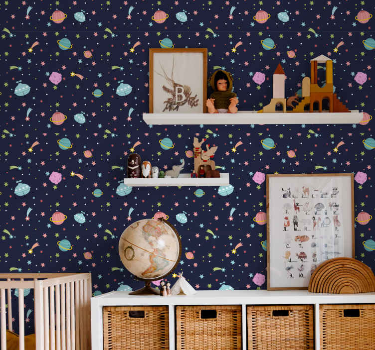 TenVinilo. Papel pared infantil estrellas y planetas. Papel pared infantil con diseño de galaxias, fondo azul y muchos planetas, estrellas y luna de muchos colores que llenarán de alegría tu hogar.