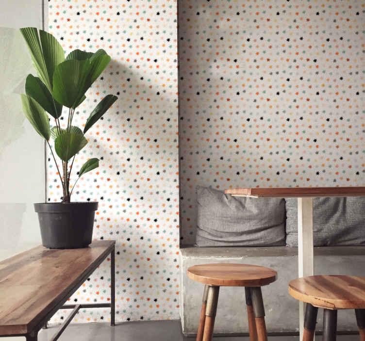 TenStickers. Taçlı yıldızlı duvar kağıdı. çok renkli taç desenli duvar kağıdı, bebeklerin, çocukların, gençlerin ve yetişkinlerin yatak odalarını güzelleştirmek için iyi bir fikir olacaktır.