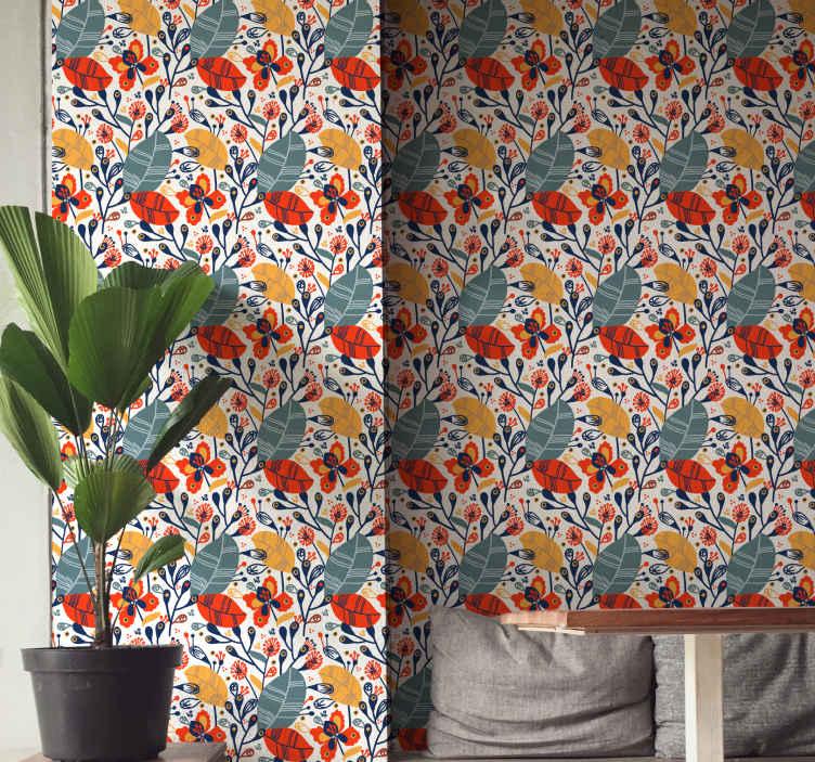 TENSTICKERS. 野花自然壁紙. あなたの家の装飾のための壮大な見た目のモダンな花柄の壁紙。耐久性があり、しわになりにくく、色あせや防水性があります。