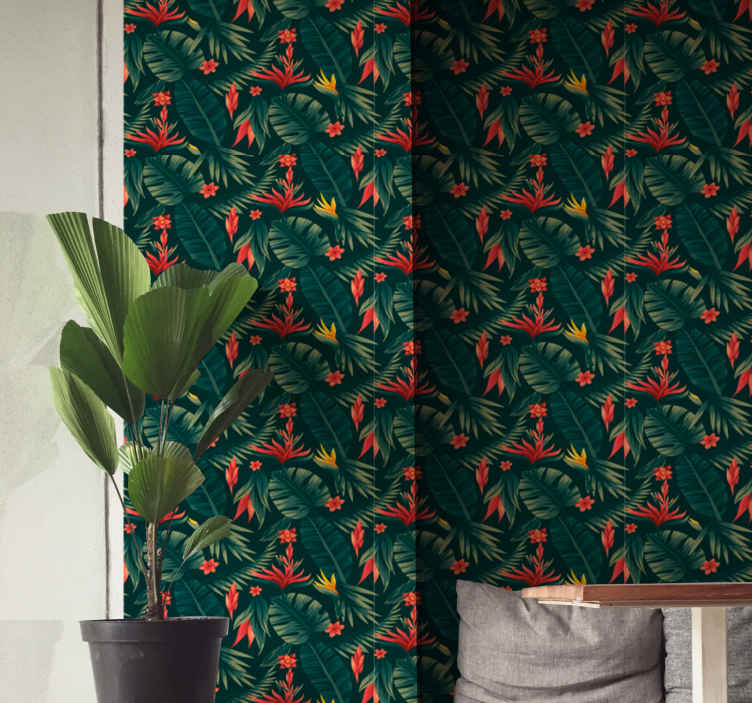 TenStickers. Carta da parati a fiori Tropici. Bellissima carta da parati con motivi floreali tropicali che non vorresti perdere per decorare la tua casa. è originale e facile da installare.