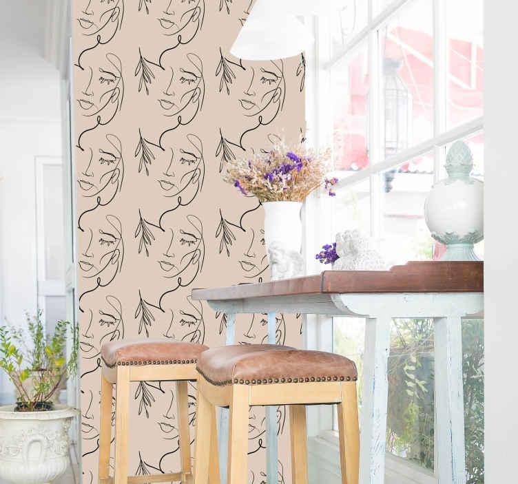 TENSTICKERS. 一行は壁紙の絵に直面しています. あなたの寝室、居間または家の興味のある他のスペースを飾るために壁紙を描く顔の芸術。適用が簡単で耐久性があります。