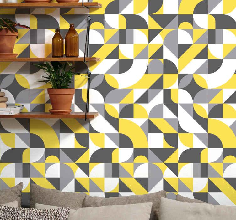 Tenstickers. Geometrisk grå och gul cool abstrakt tapet. Mångfärgad geometrisk form tapetdekoration för ditt hem, affärsplats etc. Den är gjord av högkvalitativt material och mycket slitstarkt.