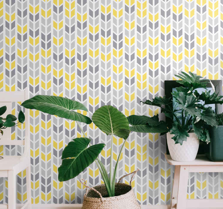 TenStickers. Grey and yellow pattern Geometric triangle wallpaper. Beautiful calm grey and yellow pattern wallpaper decoration for a bedroom, living room and even for an office space. Easy to apply and durable.