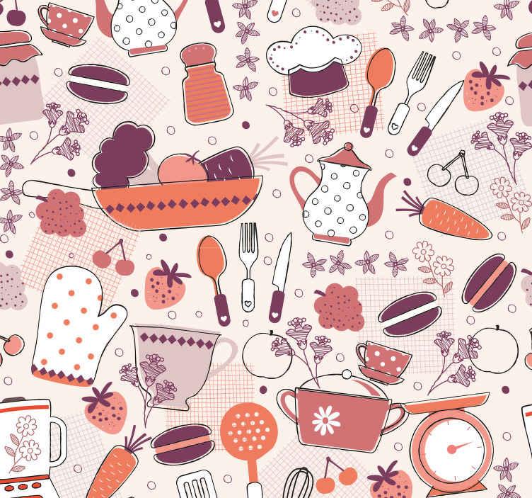 TENSTICKERS. 壁紙キッチンフードハート型キッチンビニール壁紙. あなたのキッチンを喜びで満たす様々な色の多くの台所用品のデザインのキッチン壁紙。非常に長持ちする素材。