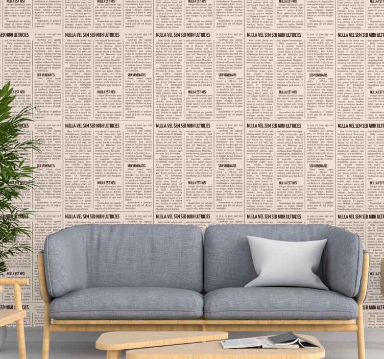 TenStickers. 壁纸复古报纸打印酷抽象壁纸. 灰色墙纸,上面印有黑白插图的报纸,可以为您的家增添复古气息。
