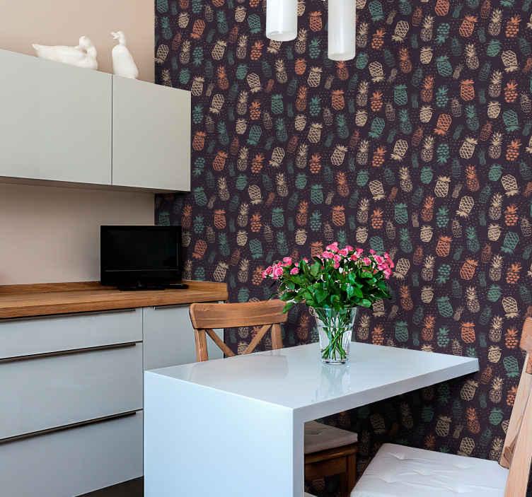 TenStickers. 蓝色菠萝复古壁纸复古壁纸. 乙烯基厨房墙纸设计,带有黄色,绿色和橙色菠萝和蓝色背景图案,非常适合装饰您的厨房。