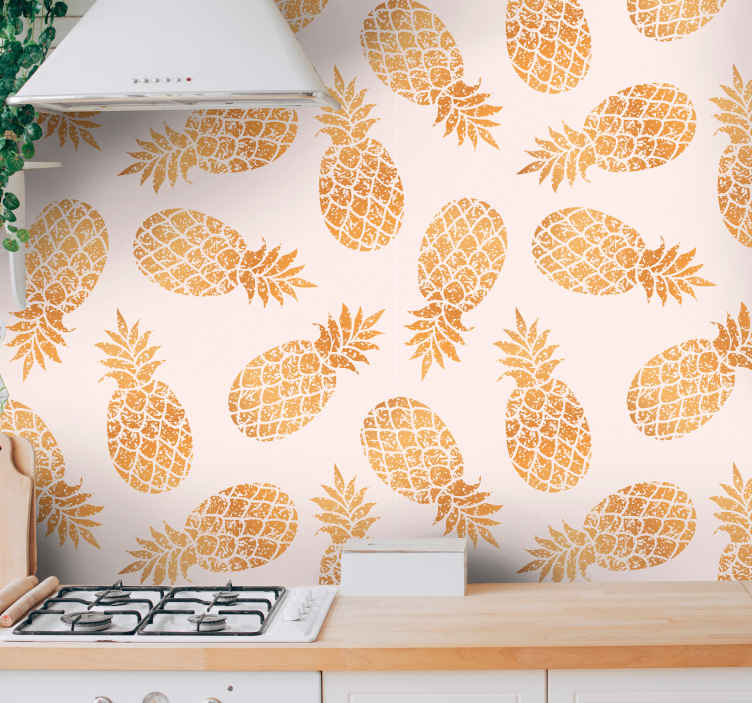 TenStickers. Vintage wallpaper golden pineapples Retro Wallpaper. Vintage wallpaper with a design of many golden pineapples with a white background, perfect for you to decorate your kitchen.