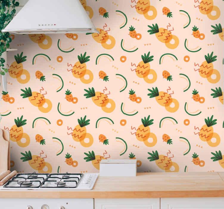 TenStickers. Papier peint vintage ananas jaune et vert. Améliorez l'apparence de n'importe quel espace avec une apparence brillante et brillante avec ce papier peint d'ananas moderne!