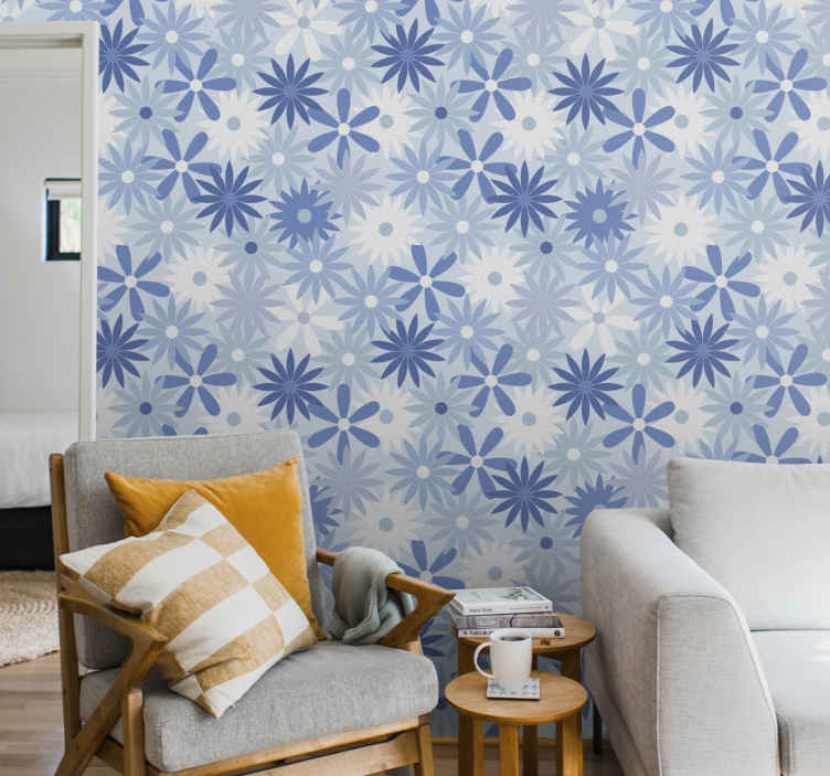 TenStickers. Vintage blue tones flowers Vintage Wallpaper. 3D modern wallpaper for living room, office, bedroom, hallway, lounge and other space decoration.  The wallpaper is made with high quality material.