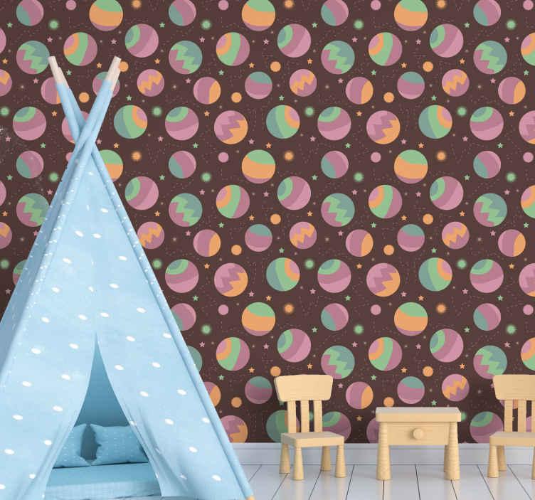 TenStickers. Carta da parati marmo Struttura in marmo con stelle. Carta da parati camera da letto per bambini con design di diverse stelle e illustrazioni spaziali su sfondo marrone. Realizzato in materiale durevole.