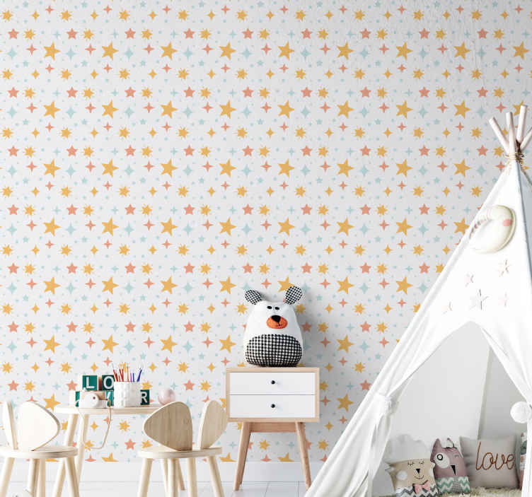 TenStickers. Multicolor stars white background starry wallpaper. Multicolor stars white background wallpaper.  Change the face of any room in a house especially for a baby's room with this starry fantasy wallpaper.