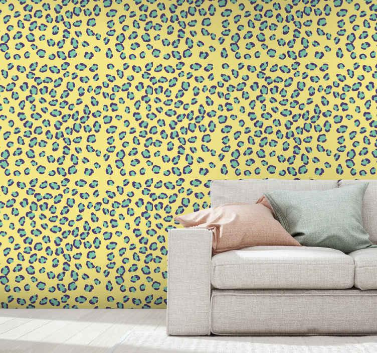 TenStickers. Papier peint graphique Texture léopard bleu et orange. Papier peint à motifs léopard avec fond jaune. Adapté et parfait pour toutes les pièces d'une maison et pour les espaces extérieurs.