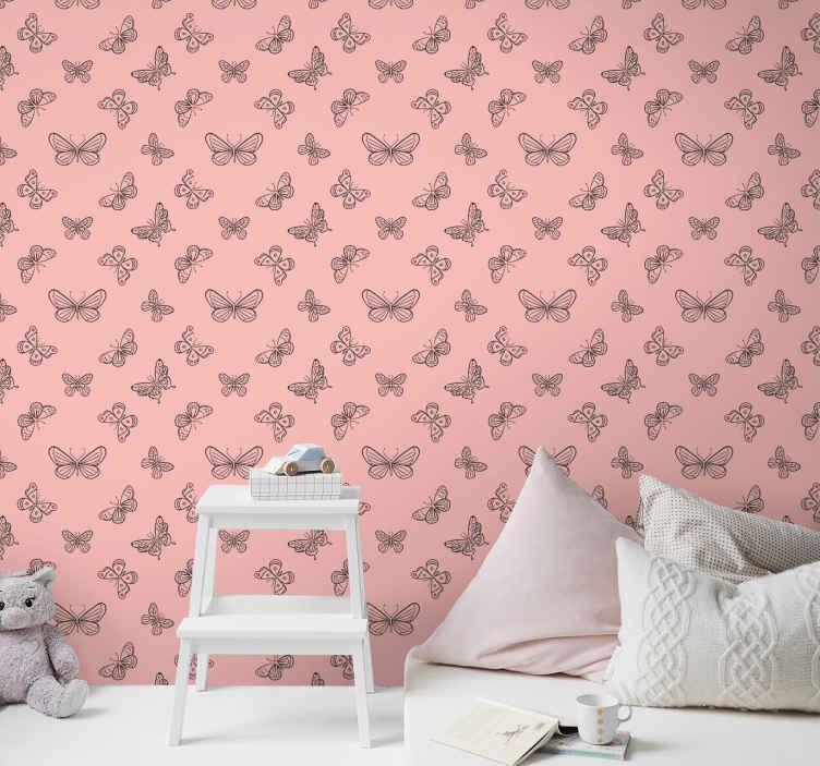 TenStickers. Fluturi negri și roz tapet pentru animale reci. Creați o atmosferă caldă, drăguță și prietenoasă cu acest fundal destul de roz, cu tapet fluturi mici în camera bebelușului și pentru alt spațiu.