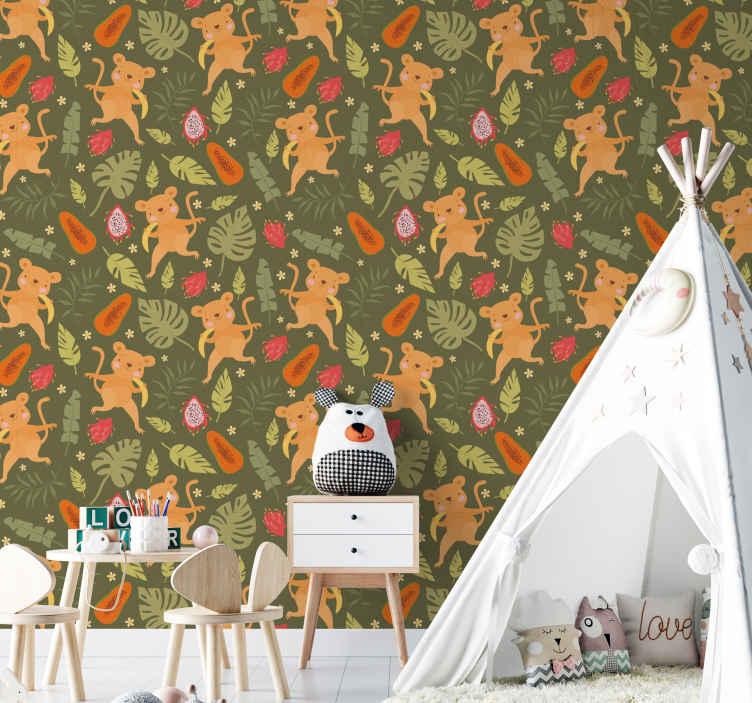 TenStickers. Papier peint Têtes de singe . Un papier peint animal avec différents dessins de singe jouant dans la jungle. Le produit est original, durable et facile à appliquer sur le mur.