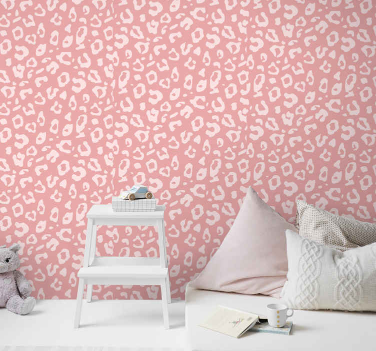 TenStickers. Leopard texture wallpaper Cool animal wallpaper. Leopard texture wallpaper animal wallpaper with pink background. The product is made with top quality material, durable and easy to apply.