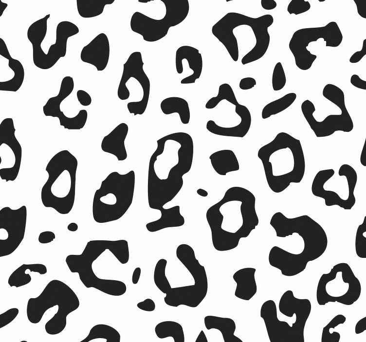 TENSTICKERS. 黒と白のヒョウのテクスチャクールな動物の壁紙. この素敵なヒョウ柄の動物の壁紙デザインであなたのスペースがどうなるか想像してみてください。オリジナルで耐久性があります。