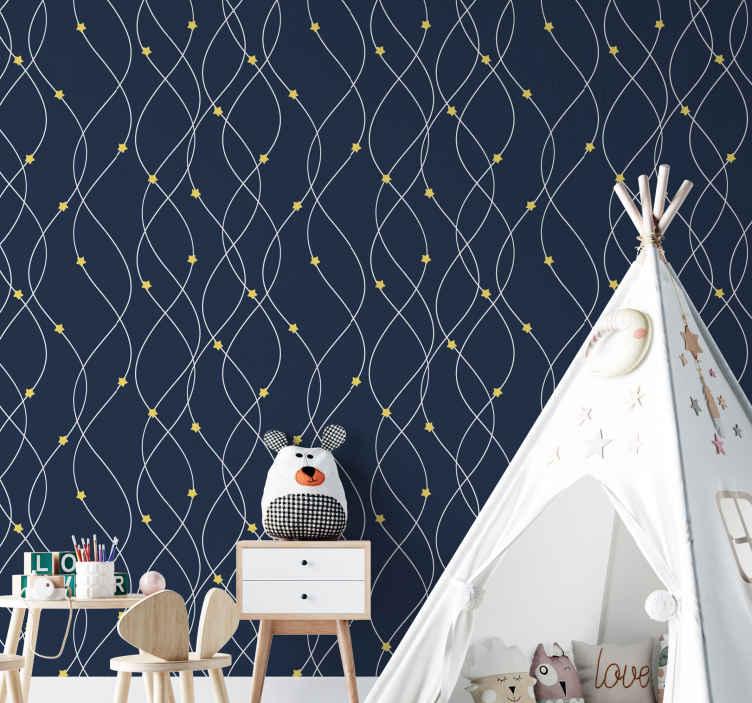 TenStickers. Papier peint avec étoiles jaunes sur fond bleu. étoiles jaunes sur fond bleu papier peint pouvant être décoré sur le mur de la chambre des enfant, avec un matériau de qualité et durable.