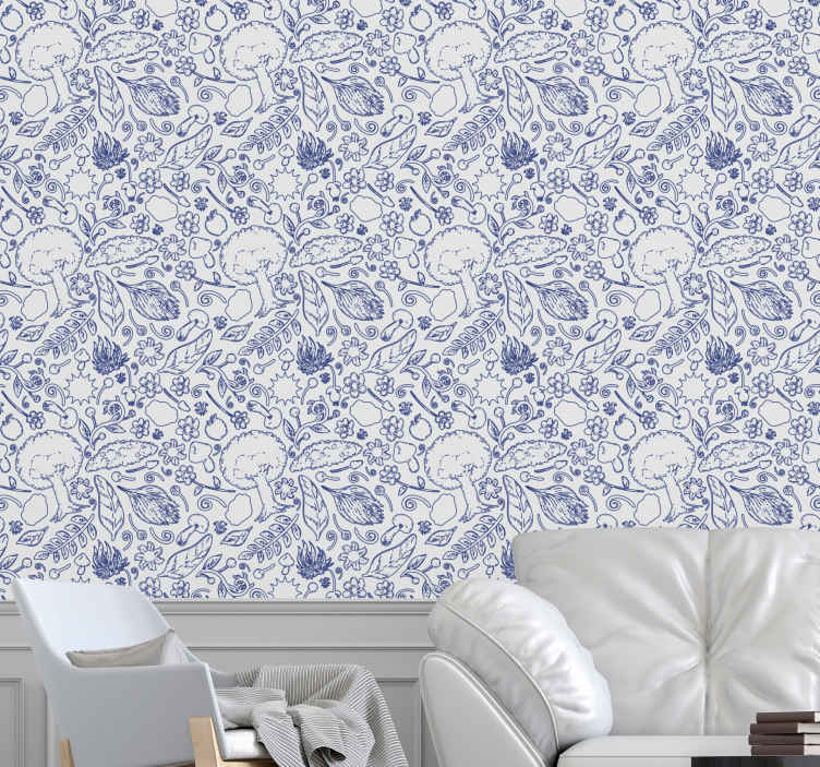 TENSTICKERS. 壁紙自然さまざまな植物自然壁紙. ショッピングカートにさまざまな植物が印刷されたこの壁紙の性質を追加してください。リビングルームの装飾やその他の一般的なエリアに最適です。