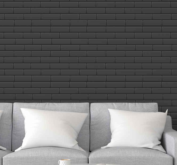 TenVinilo. Papel pared ladrillo de tonos grises. Papel pared ladrillo gris macizo para decorar la pared cualquier habitación para transformarlo en un lugar de aspecto lujoso ¡Envío exprés!