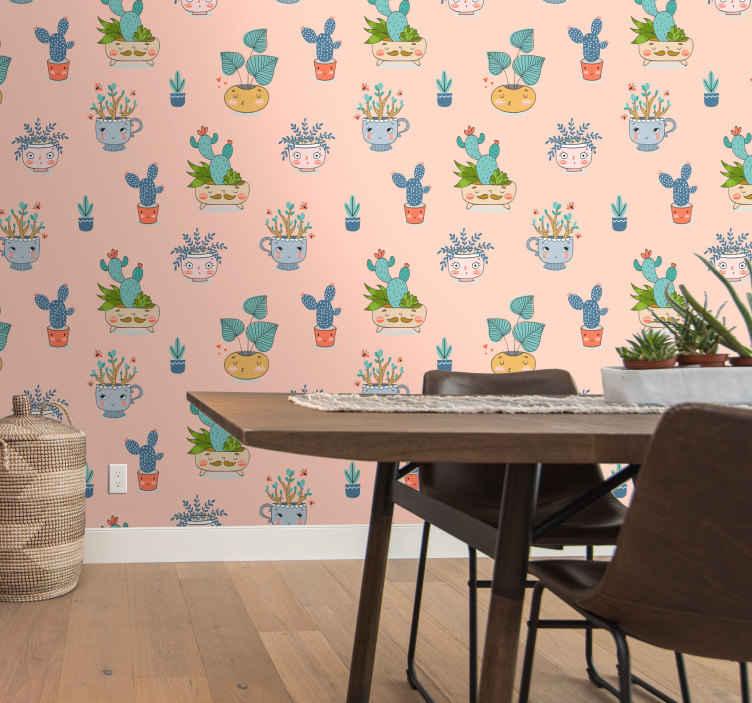 TenStickers. Papier peint cuisine cactus différent. Beau papier peint super nature pour décorer la cuisine, la salle de bain et pour manger. La conception héberge différents pots de plantes de cactus