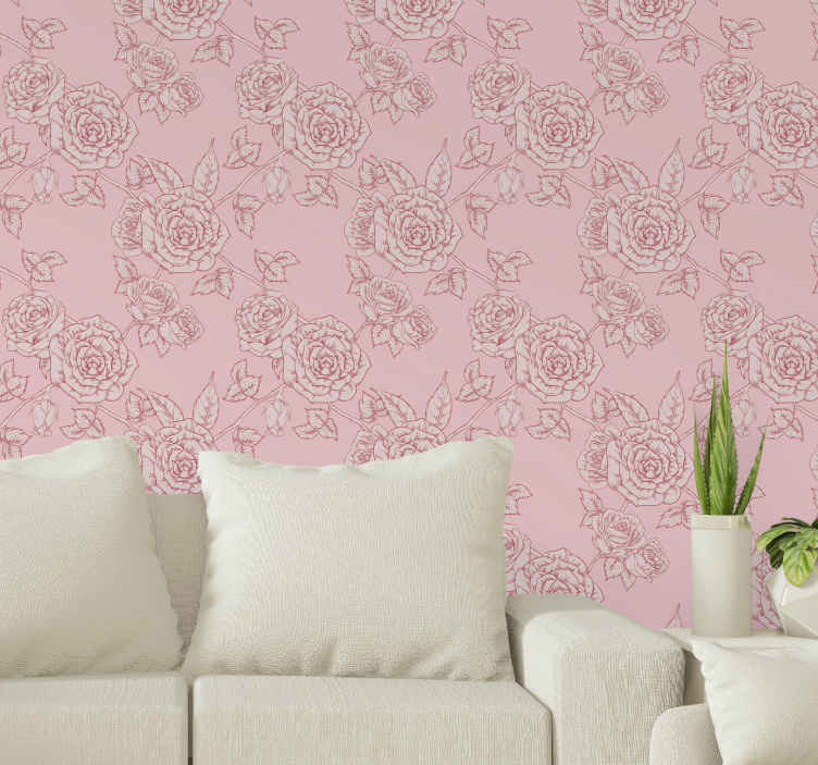 TenStickers. Pink background with red roses Nature wallpaper. Cool pink background with rose flower wallpaper to decorate your home space giving it a lovely and original look. It is original and durable.