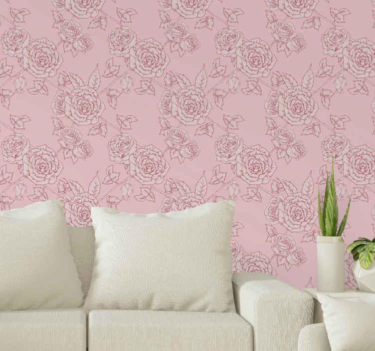 TenStickers. Carta da parati a fiori Sfondo rosa con rose rosse. Sfondo rosa fresco con carta da parati fiore rosa per decorare il tuo spazio domestico dandogli un aspetto adorabile e originale.