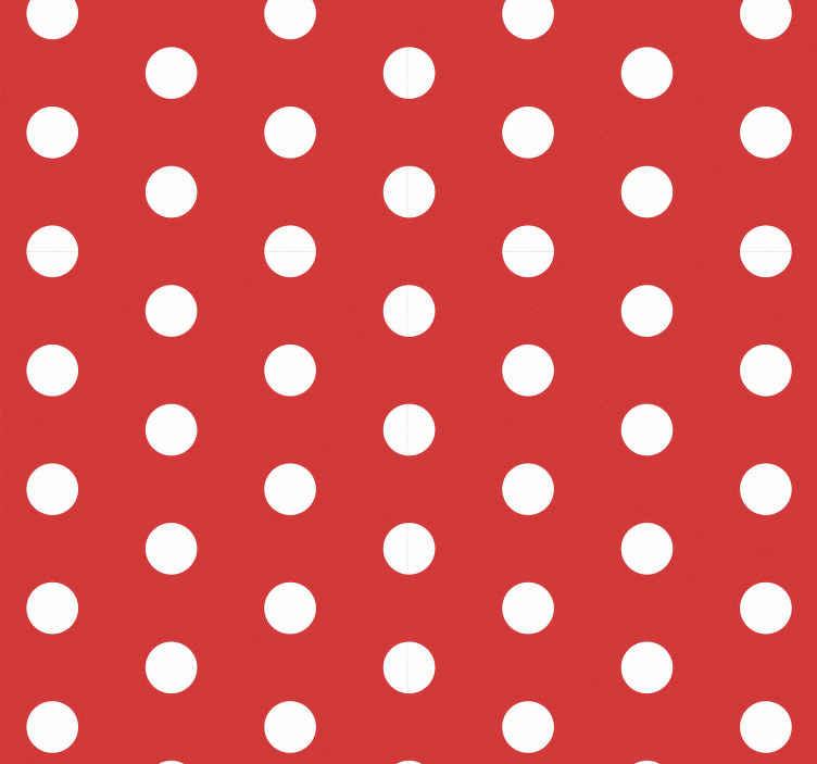 TENSTICKERS. 白い水玉模様の円と赤い壁紙. むらのある白い点が付いたこの赤いモダンな3d高級壁紙で、飛び出るような鮮やかな外観であらゆるスペースの外観を改善します。