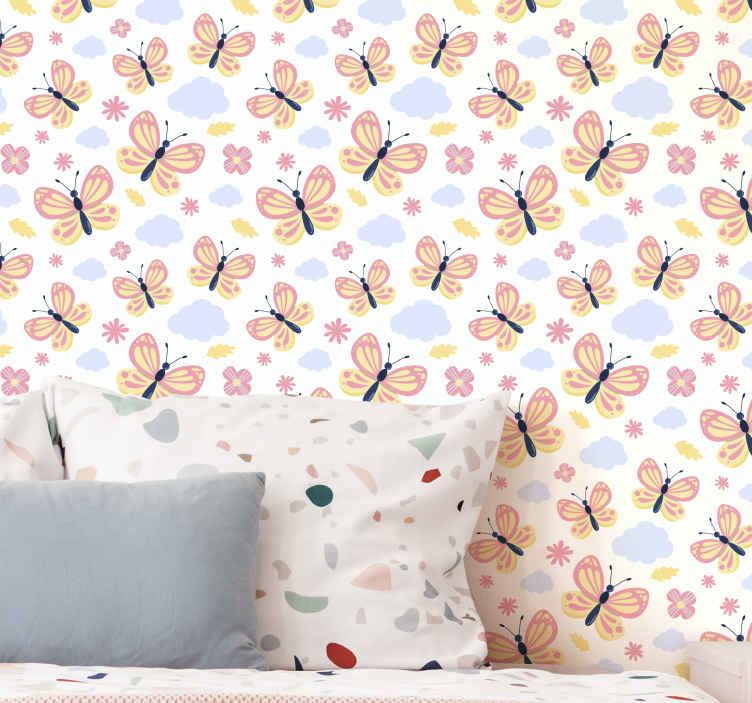 TenStickers. carta da parati con farfalle Farfalle con sfondo bianco. Cambia il volto di qualsiasi spazio della tua casa con questo sfondo di farfalle colorate su sfondo bianco. Realizzato in materiale resistente.