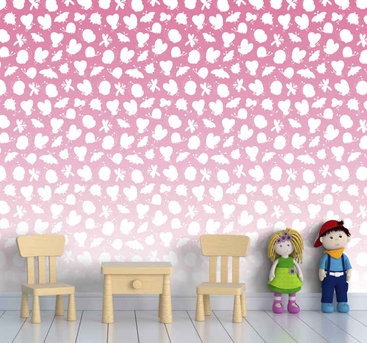 TenStickers. papel parede borboletas Borboletas com degradação rosa. Com este papel de parede degradado rosa com borboletas, o quarto do seu bebê ou criança teria uma aparência brilhante, atraente e amigável.